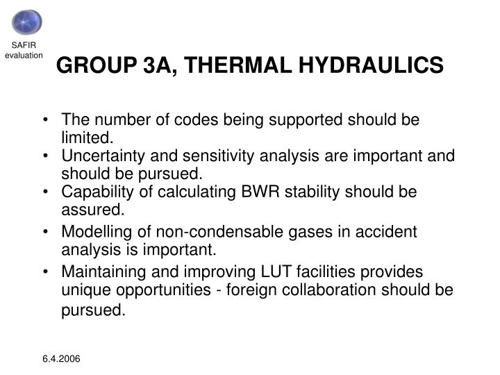 GROUP 3A, THERMAL HYDRAULICS