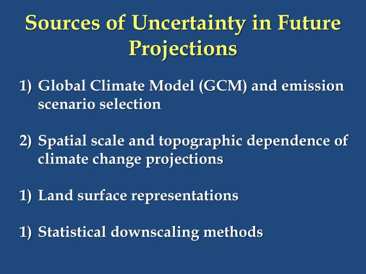 Sources of Uncertainty in Future Projections
