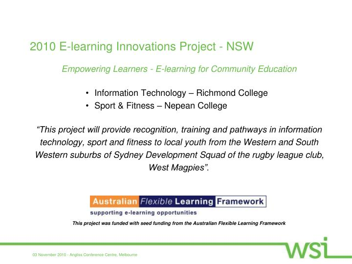 2010 E-learning Innovations Project - NSW