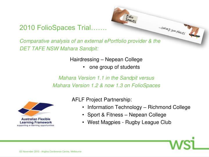 2010 FolioSpaces Trial…….