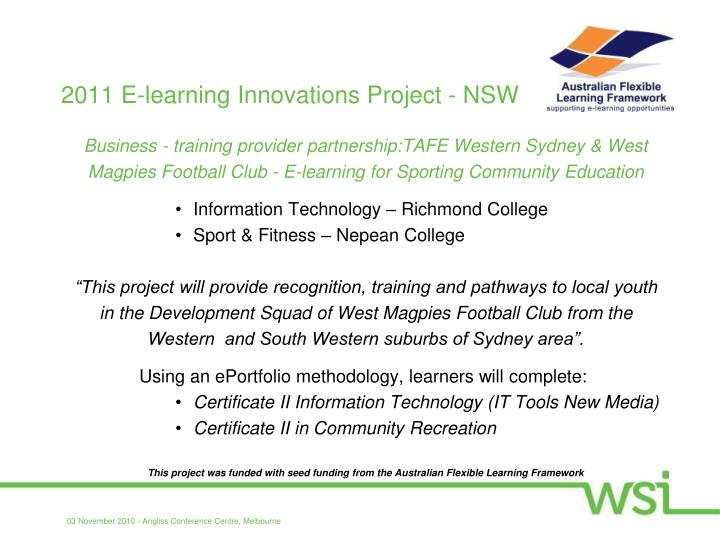 2011 E-learning Innovations Project - NSW