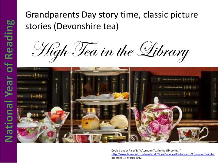 Grandparents Day story time, classic picture stories (Devonshire tea)