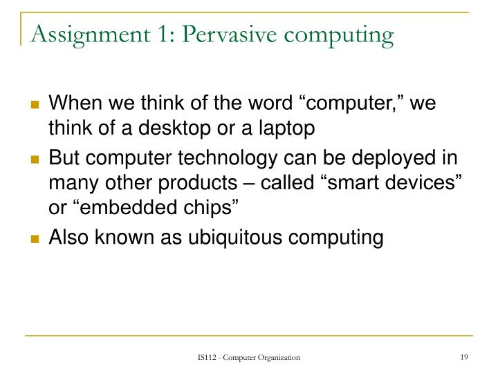 Assignment 1: Pervasive computing