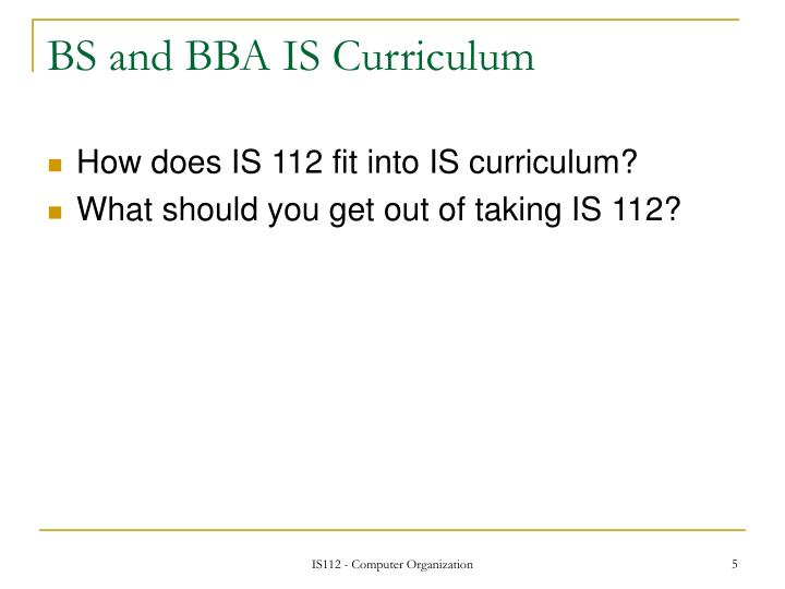 BS and BBA IS Curriculum