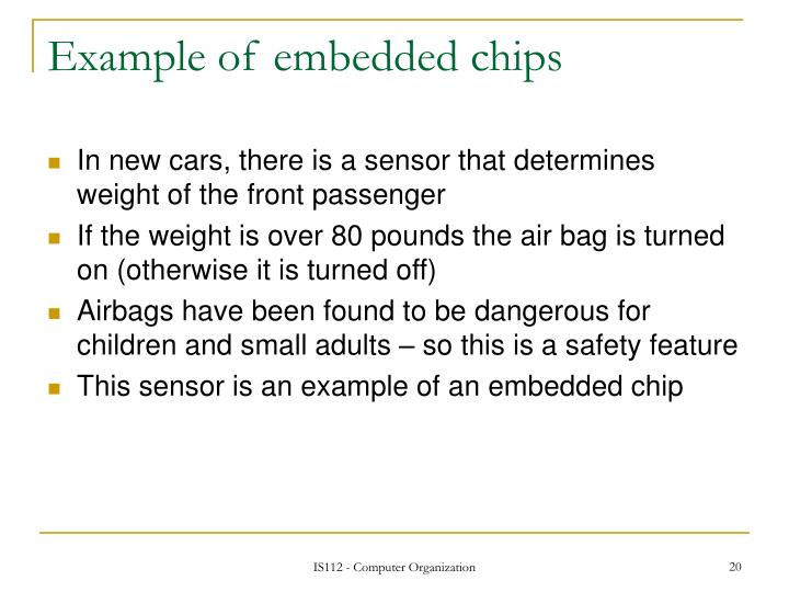 Example of embedded chips