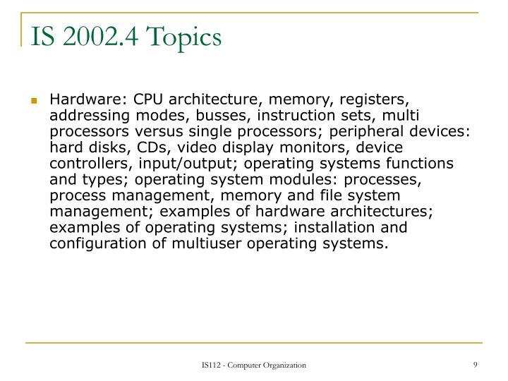IS 2002.4 Topics