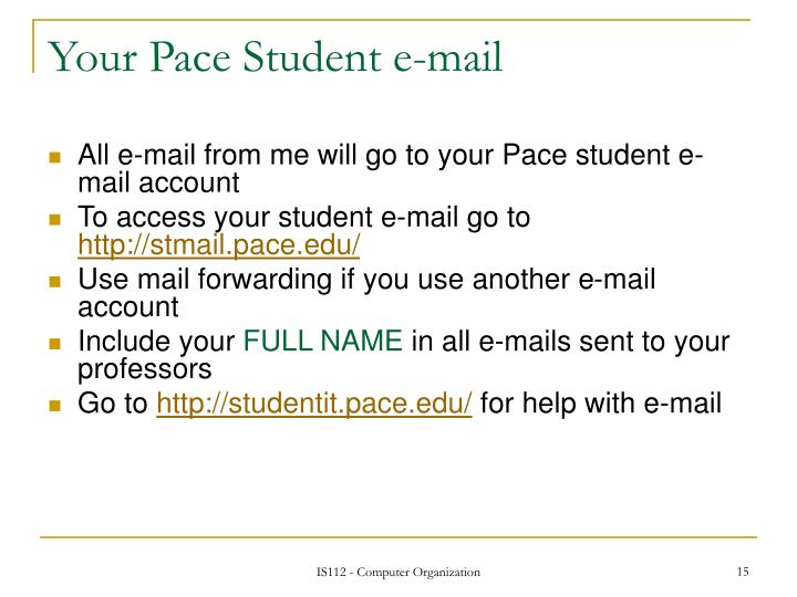 Your Pace Student e-mail