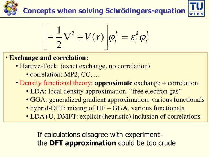 Concepts when solving Schrödingers-equation