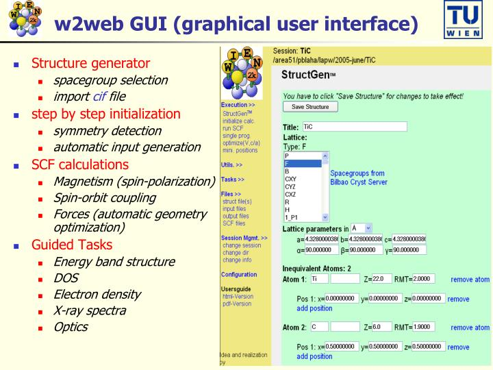 w2web GUI (graphical user interface)