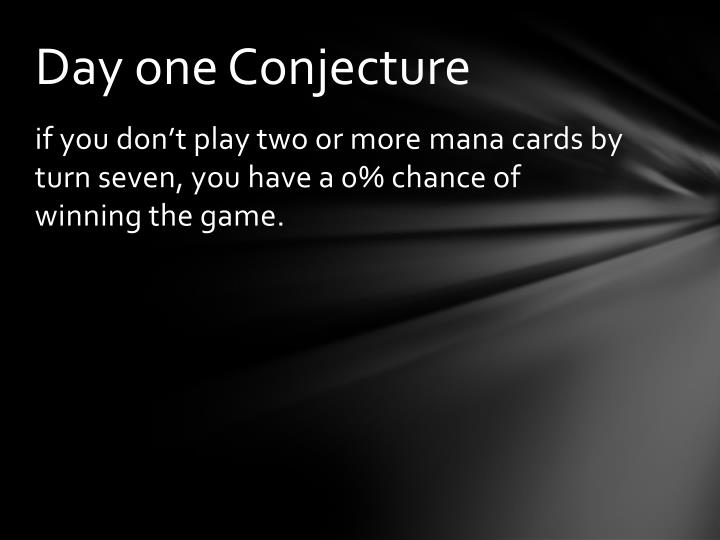 Day one Conjecture