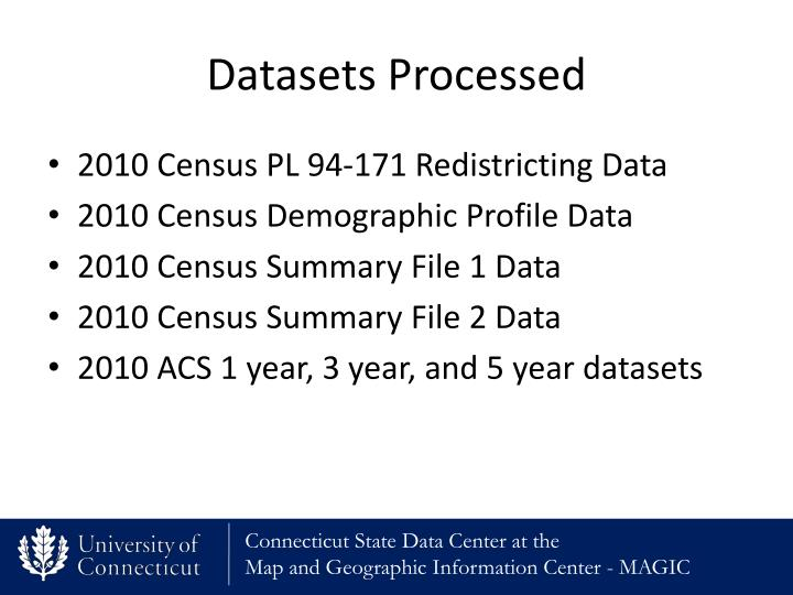 Datasets Processed