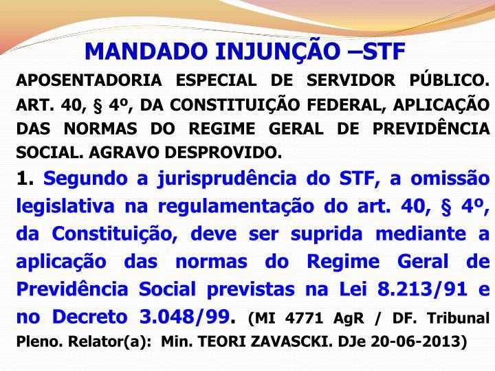 MANDADO INJUNÇÃO –STF