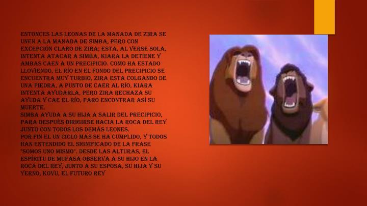 Entonces las leonas de la manada de Zira se unen a la manada de