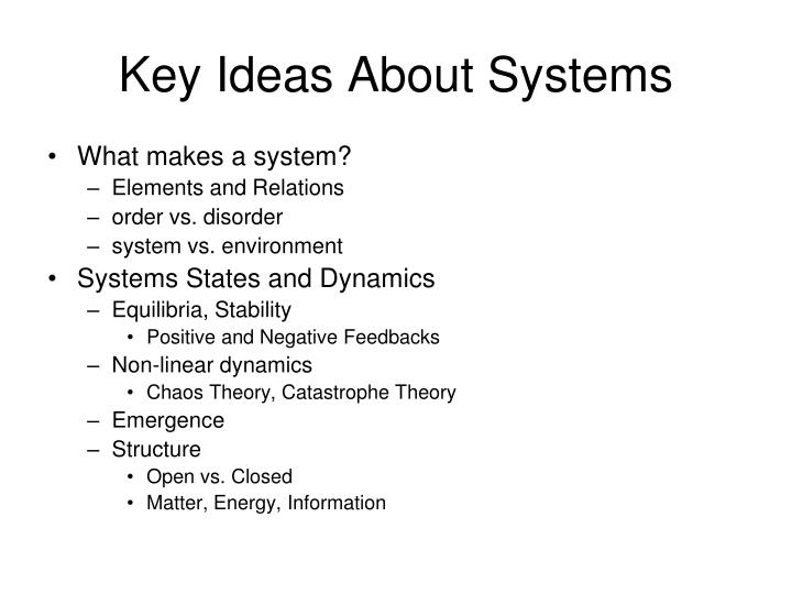 Key Ideas About Systems