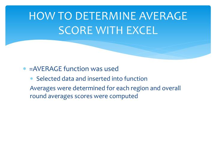 HOW TO DETERMINE AVERAGE SCORE WITH EXCEL