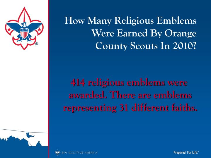 How Many Religious Emblems Were Earned By Orange County Scouts In 2010?