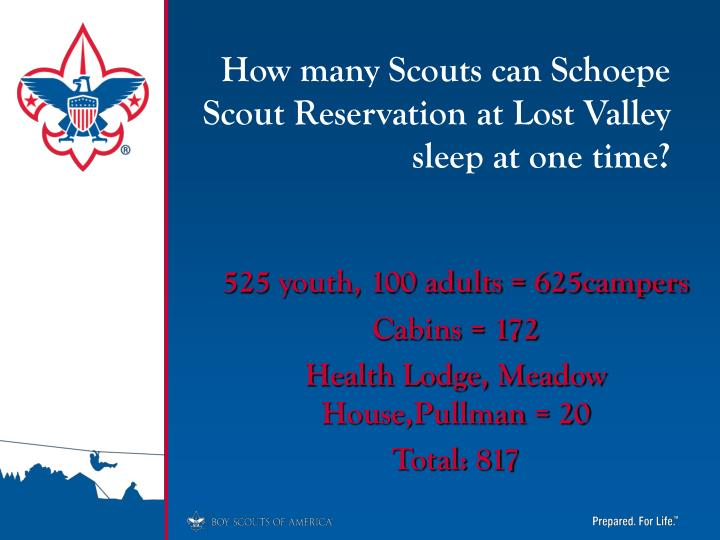 How many Scouts can Schoepe Scout Reservation at Lost Valley sleep at one time?