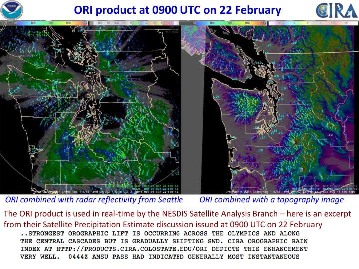 ORI product at 0900 UTC on 22 February