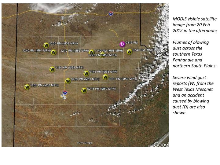 MODIS visible satellite image from 20 Feb 2012 in the afternoon: