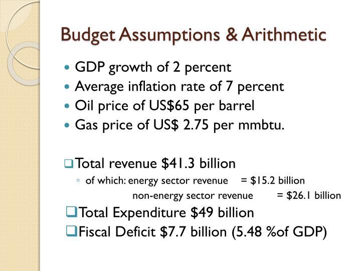 Budget Assumptions & Arithmetic