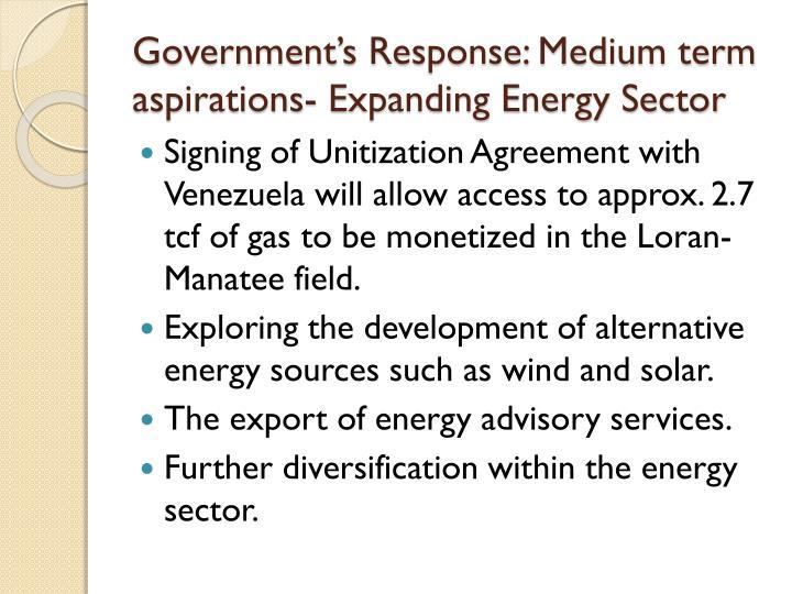 Government's Response: Medium term