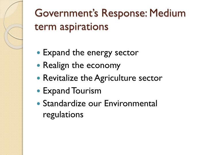 Government's Response: Medium term aspirations