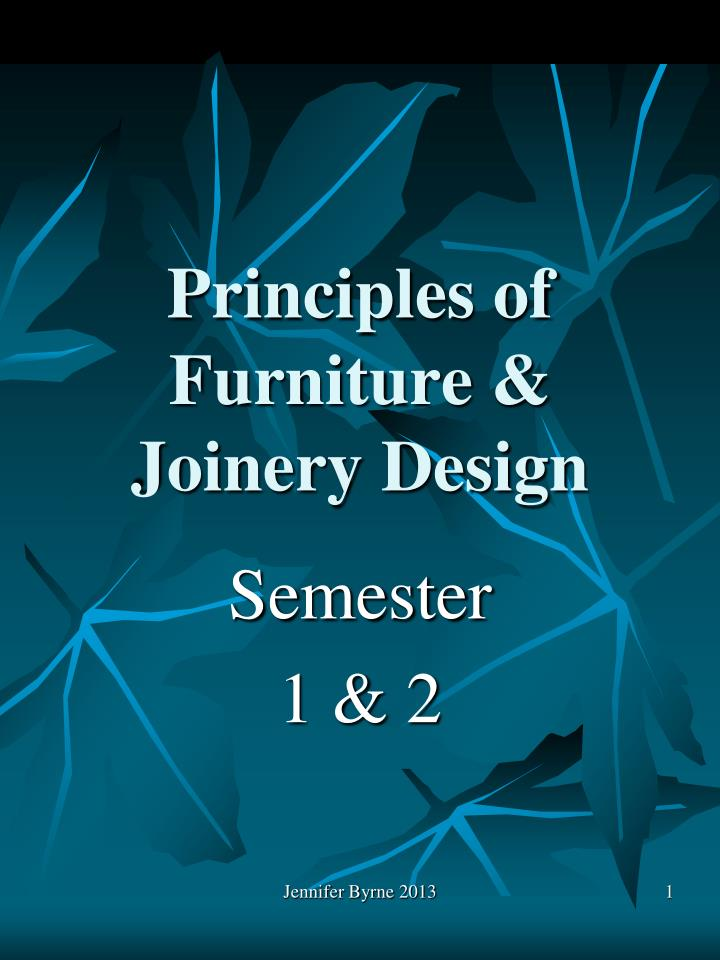 Principles of furniture joinery design