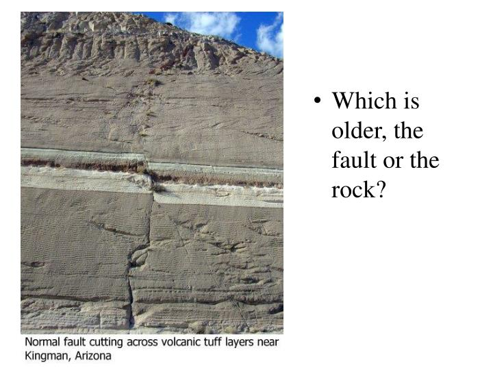 Which is older, the fault or the rock?