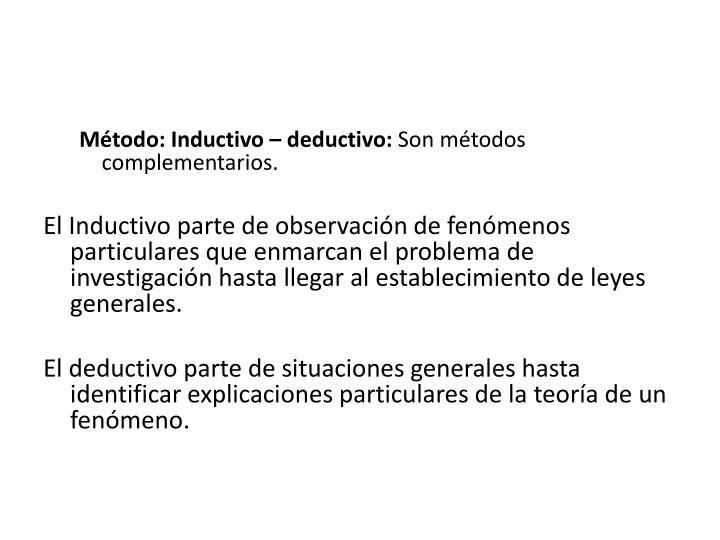 Método: Inductivo – deductivo: