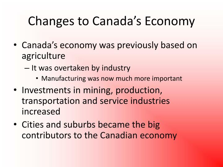 Changes to Canada's Economy