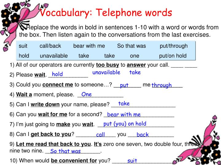Vocabulary: Telephone words