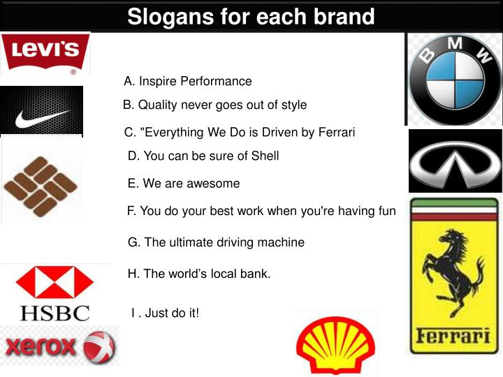 Slogans for each brand