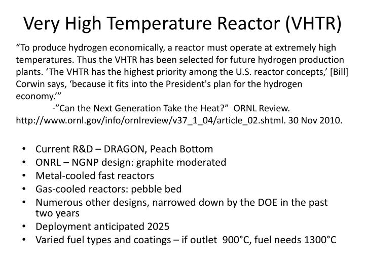 Very High Temperature Reactor (VHTR)