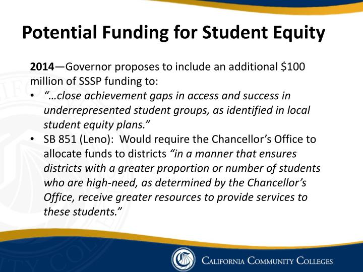 Potential Funding for Student Equity
