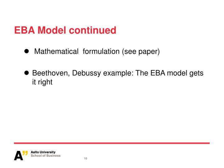 EBA Model continued