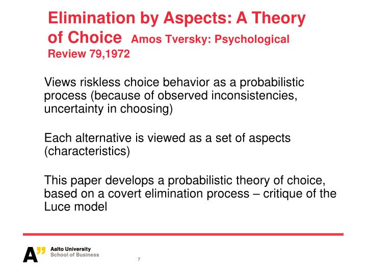 Elimination by Aspects: A Theory of Choice