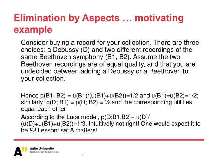 Elimination by Aspects … motivating example