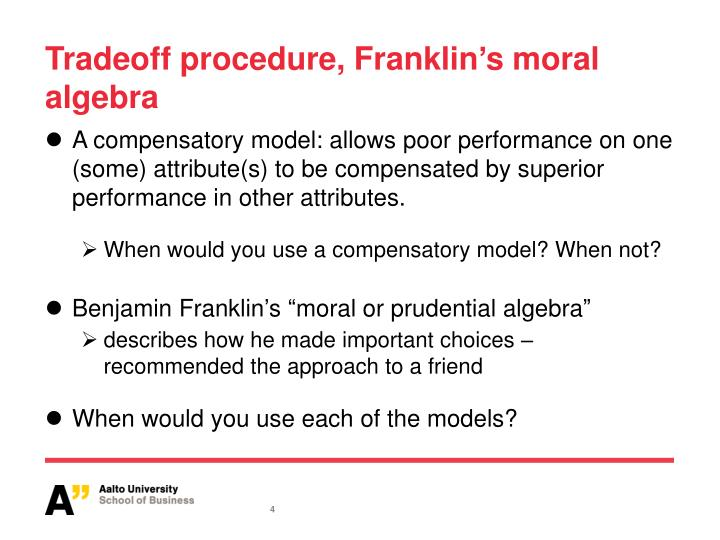Tradeoff procedure, Franklin
