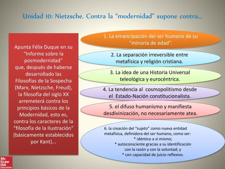 """Unidad 10: Nietzsche. Contra la """"modernidad"""" supone contra..."""