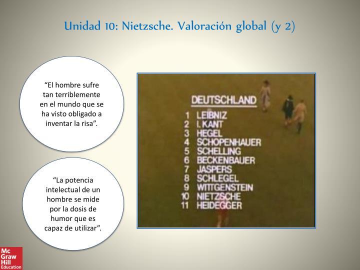 Unidad 10: Nietzsche. Valoración global (y 2)