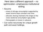 here take a different approach no optimization emphasizes institutional setting