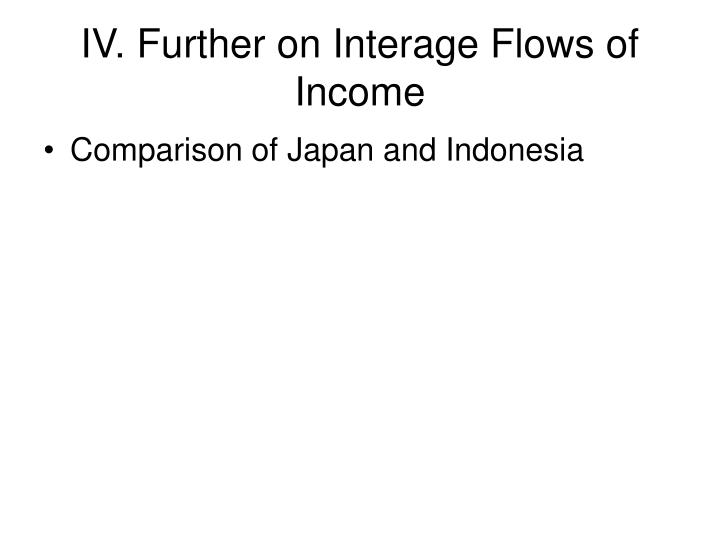 IV. Further on Interage Flows of Income