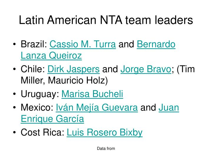 Latin American NTA team leaders
