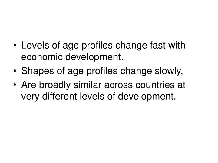Levels of age profiles change fast with economic development.