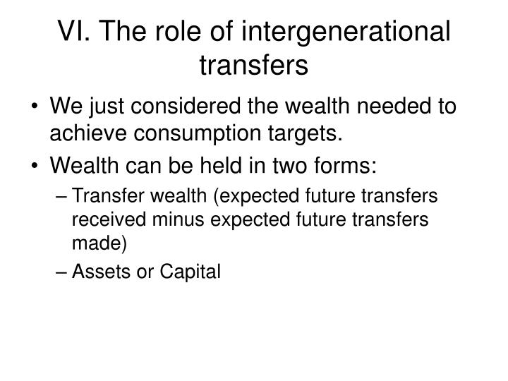 VI. The role of intergenerational transfers