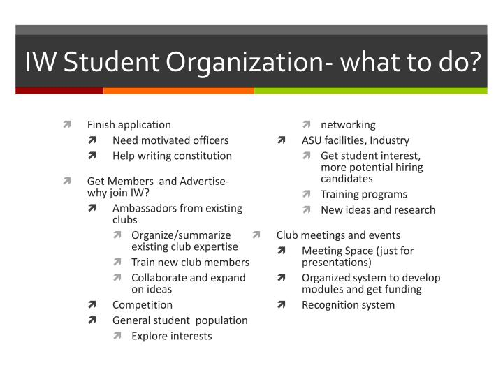 IW Student Organization- what to do?