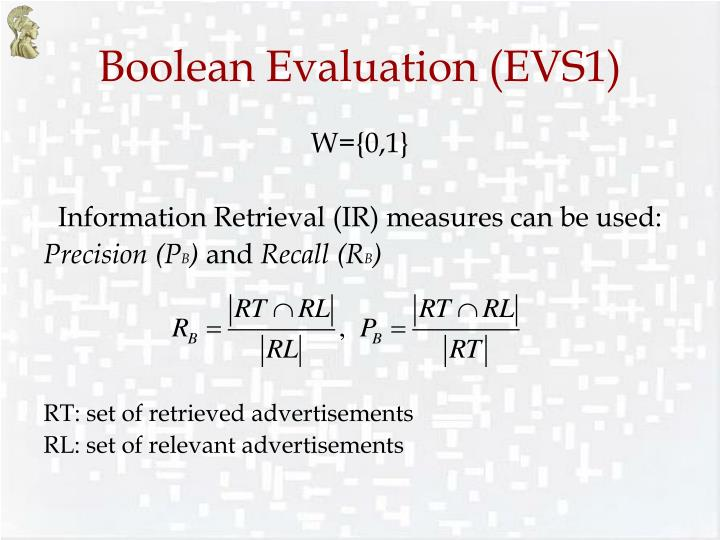 Boolean Evaluation (EVS1)