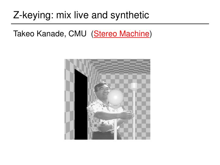 Z-keying: mix live and synthetic
