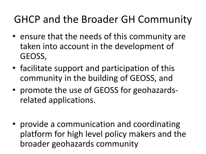 GHCP and the Broader GH Community