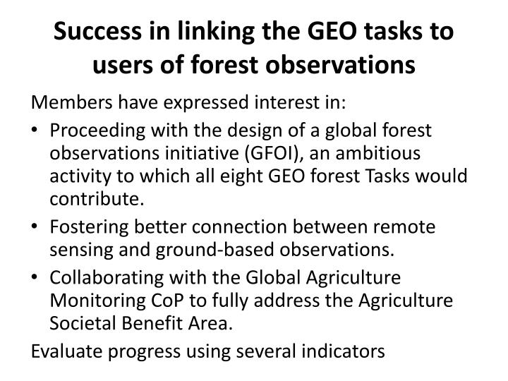 Success in linking the GEO tasks to users of forest